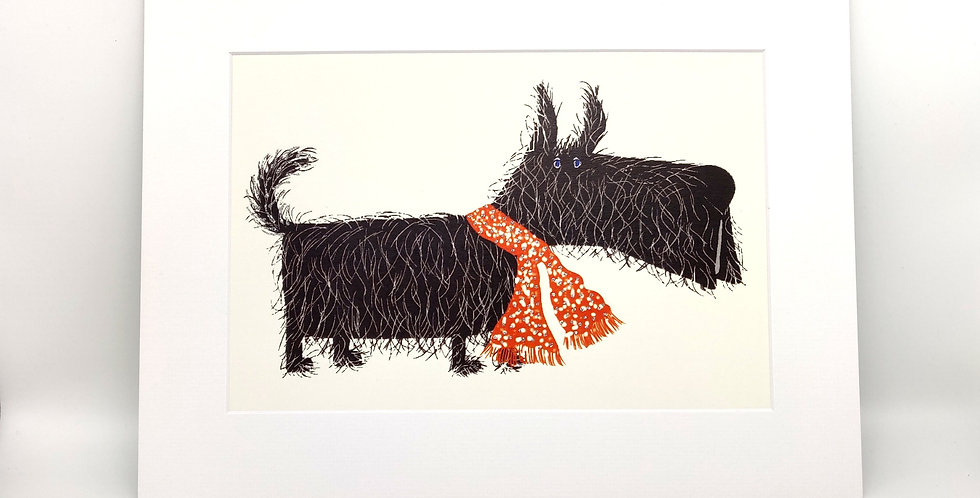 Hairy Scottie Mounted Print