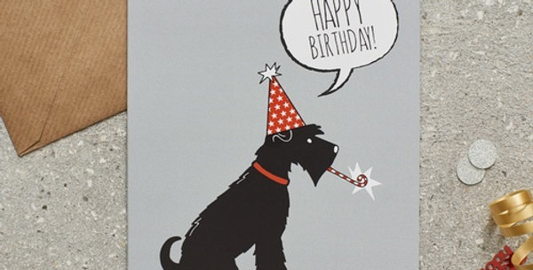 Party Hat Scottie Happy Birthday Greeting Card
