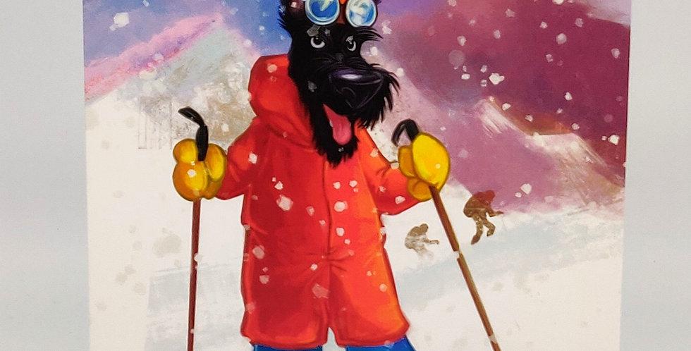Mountain Scottie Skiing - Blank