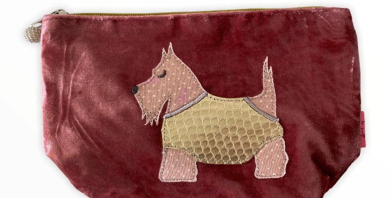 Velvet Scottie Dog Make up Bag - Pink