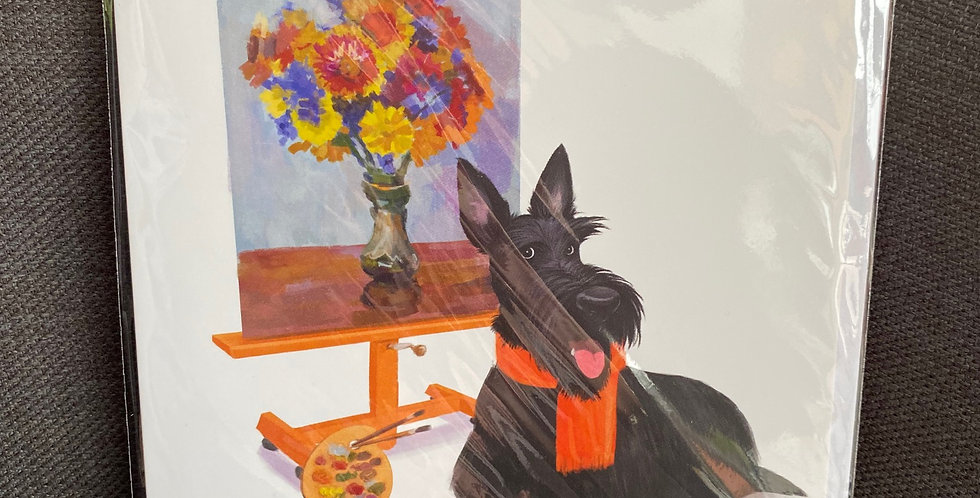 The Artist Scottie dog blank greeting card
