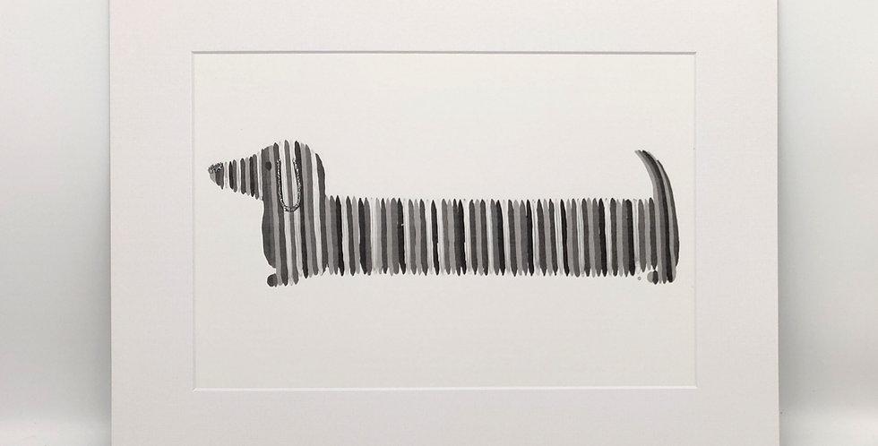 'Dash' the Dachshund Mounted Print - Black & White