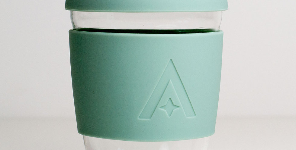 Glass Travel Coffee Cup - Sage green