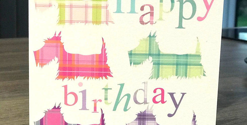 Scottie Dog 'Patchwork' Birthday  Greeting Card