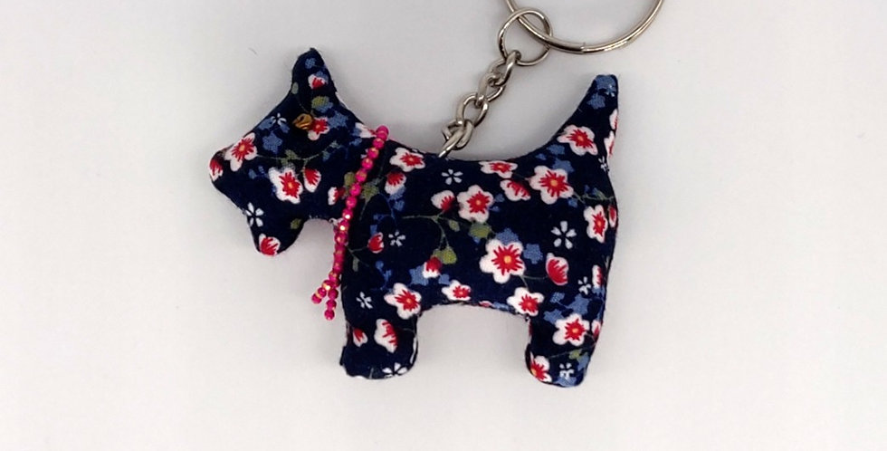 Floral Fabric Scottie Dog Keyring - Navy