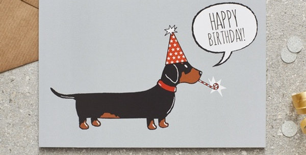Party Hat Dachshund Happy Birthday Greeting Card