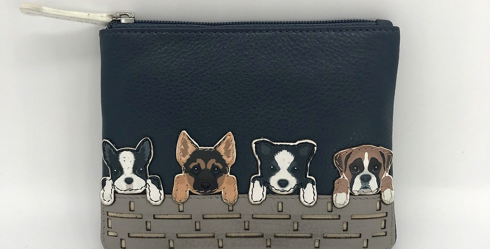 Best Friends Purse - Dogs on a Wall - Navy