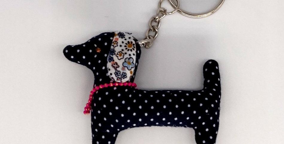 Dotty & Floral Fabric Dachshund Keyring - Navy