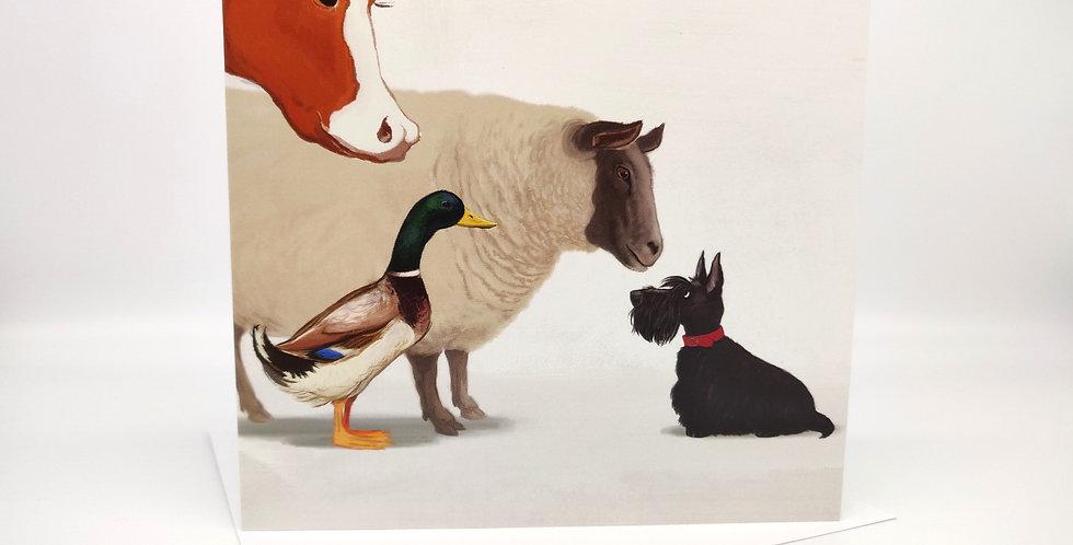 Scottie Dog Greeting Card Farmyard  - Blank