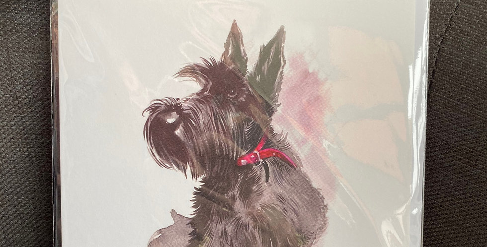Sitting Scottie Dog blank greeting card