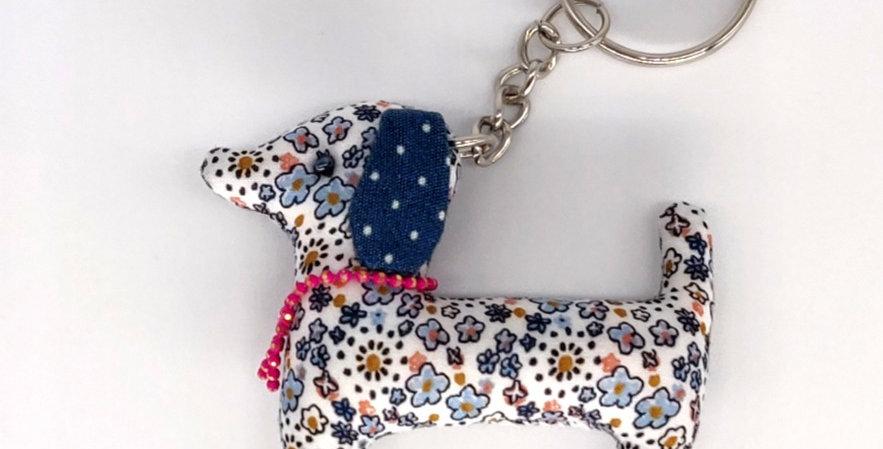 Floral Fabric Dachshund Keyring - Blue