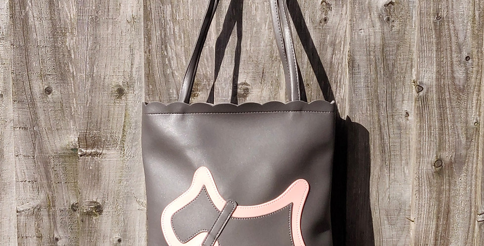 Scottie Dog Two Tone Shoulder Bag - Dark Grey