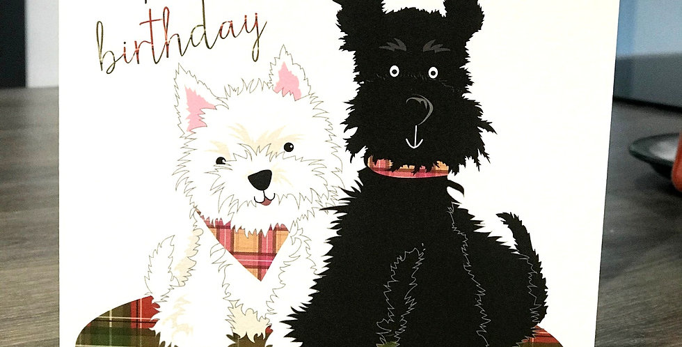 Scottie & Westie Birthday Greeting Card