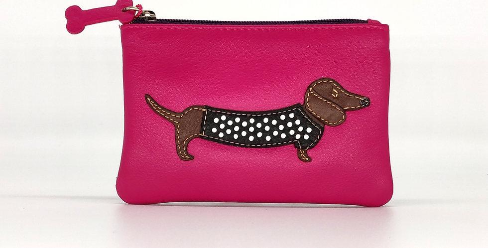 Dachshund Dog Coin Purse - Pink