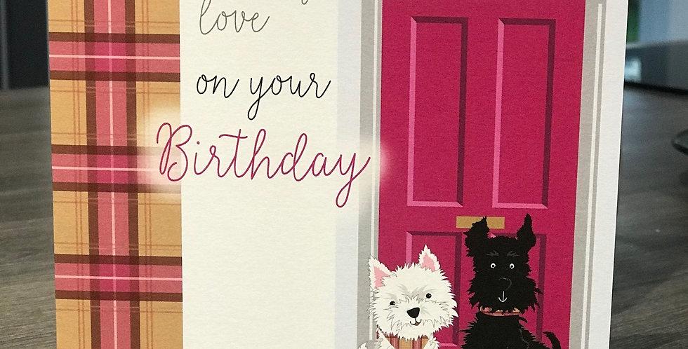 Scottie & Westie Doorstep Birthday Greeting Card
