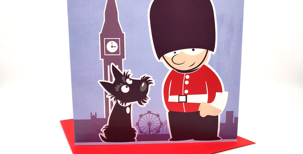 Scottie dog Greeting Card 'Day trip to London'