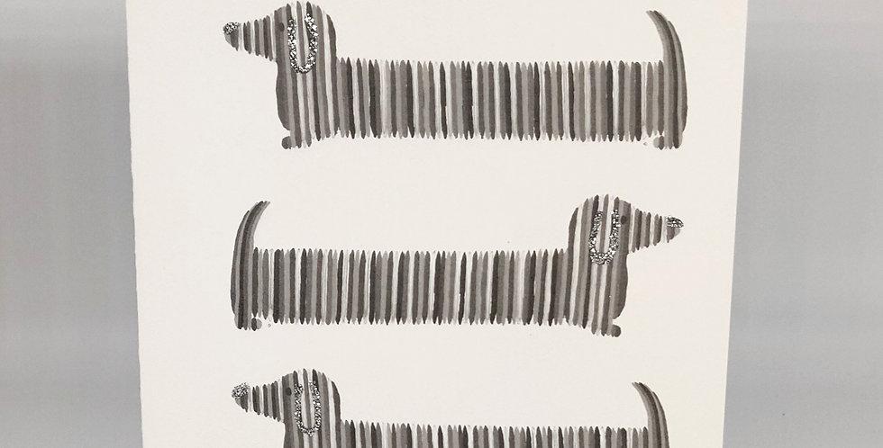Dachshunds Card - Black & White