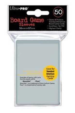 Ultra Pro - Board Game Sleeves 50ct - Standard American - 56MM x 87MM