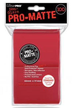 ULTRA PRO - STANDARD CARD SLEEVES 100CT - PRO-MATTE - RED