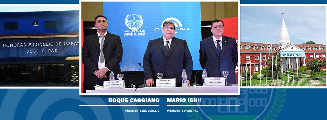 Intendente M. Ishii y Pesidete del HCD R. Caggian