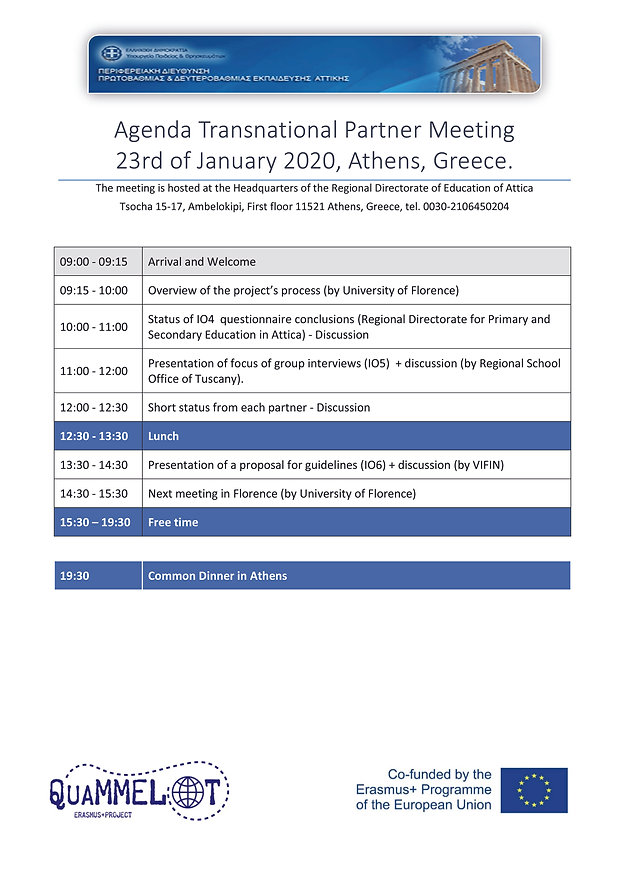 Agenda Partner Meeting 23th of January 2