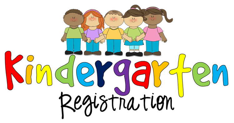 Graphic for kindergarten registration with five clip-art kinds smiling and holding hands.