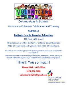 Digital flier for volunteer celebration to take place at Baldwin BOE at 8:30 a.m. and 5:30 p.m. on August 15th