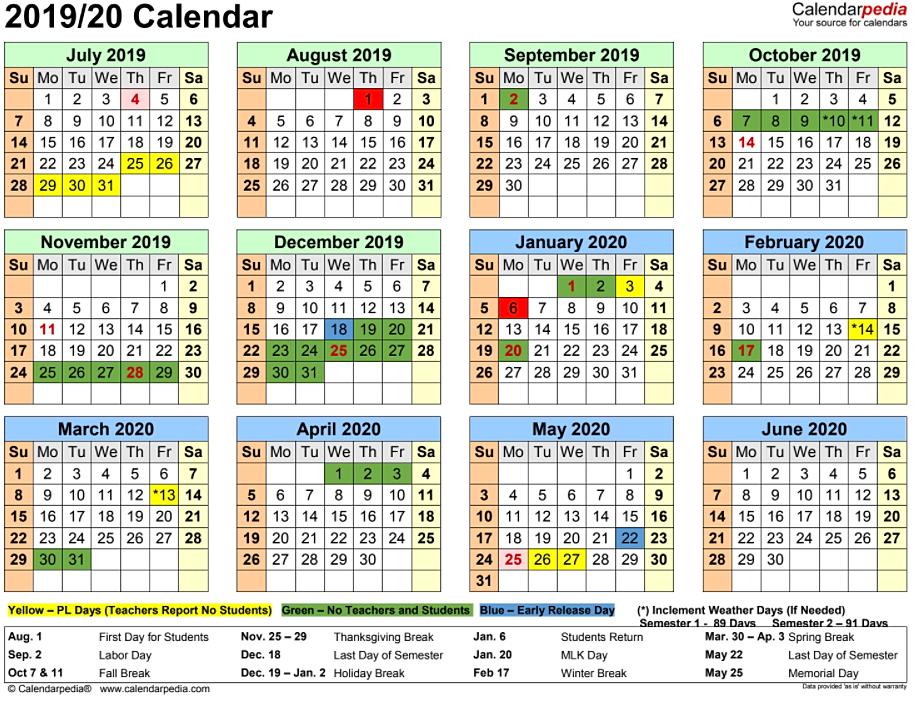 Spring break calendar 2019