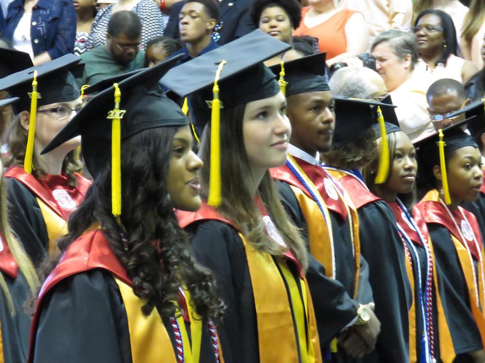 BHS Valedictorian and Salutatorian at graduation.
