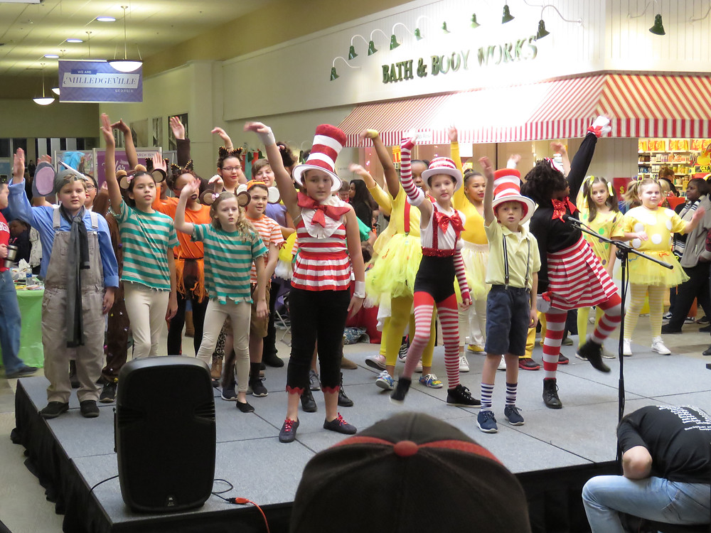 Students of the Baldwin Playhouse Academy performing Seussical the Musical at the 6th annual literacy fair.