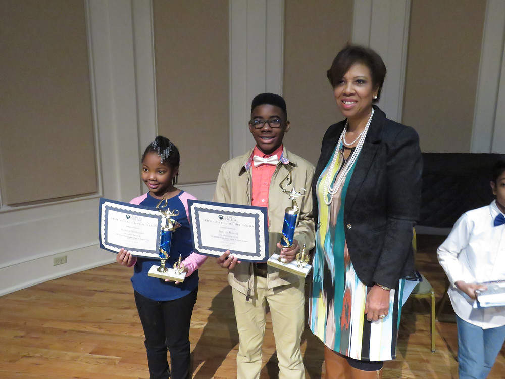 Superintendent Dr. Noris Price with the two essay winners at the 2nd annual Dr. Martin Luther King, Jr. Community Breakfast