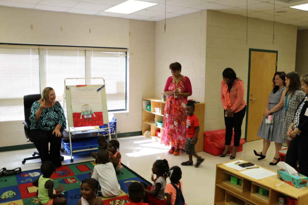 Superintendent Dr. Noris Price and GOSA representatives touring the ELC summer program.