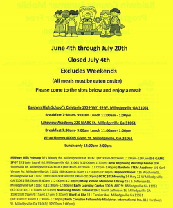 Picture of the summer meals program flier.