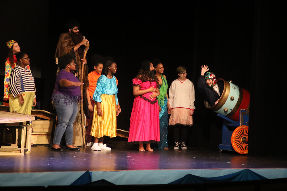 "Students performing ""Big Fish"" on the stage at Baldwin High School."