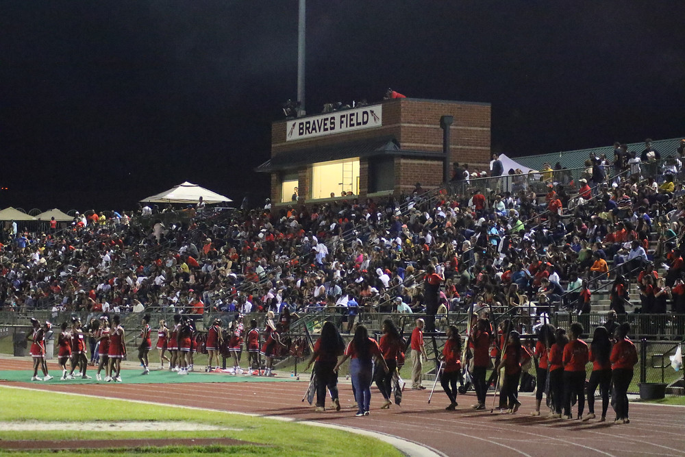 Braves Stadium during homecoming.