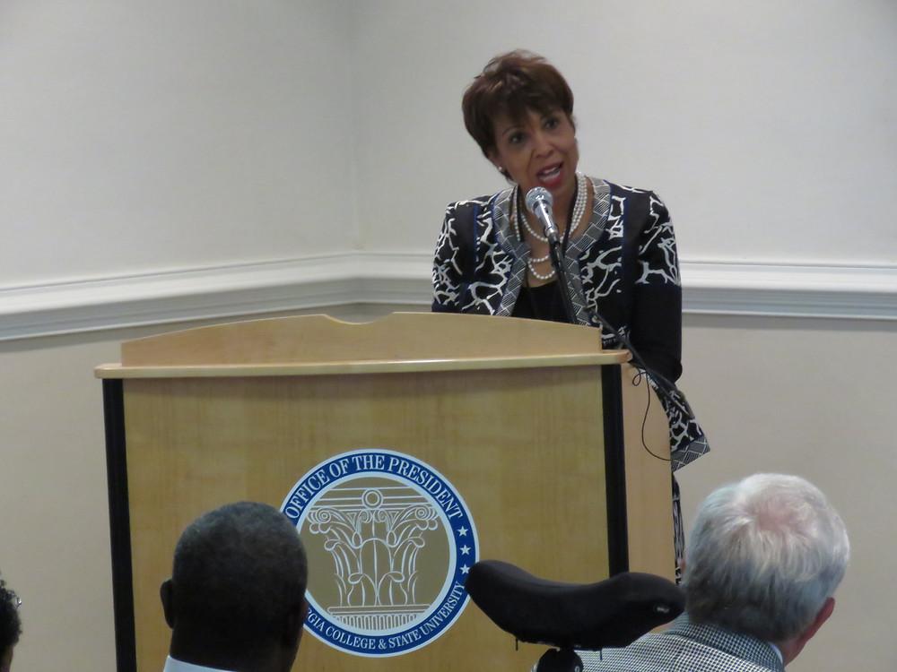 Superintendent Dr. Noris Price addressing the crowd.