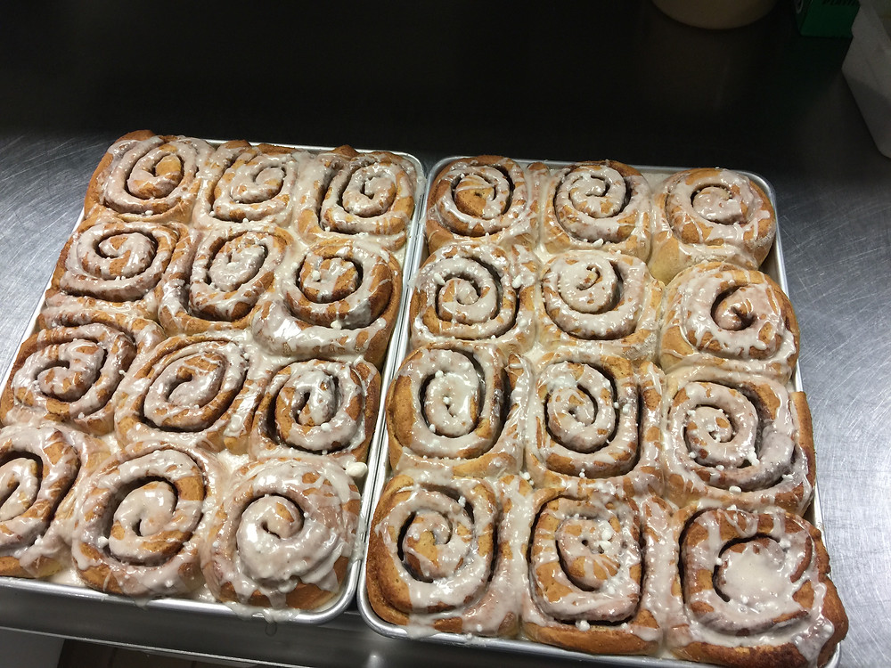 Cinnamon rolls made with GA grown ingredients.