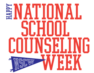 Graphic image of the National School Counseling Week text over white background.