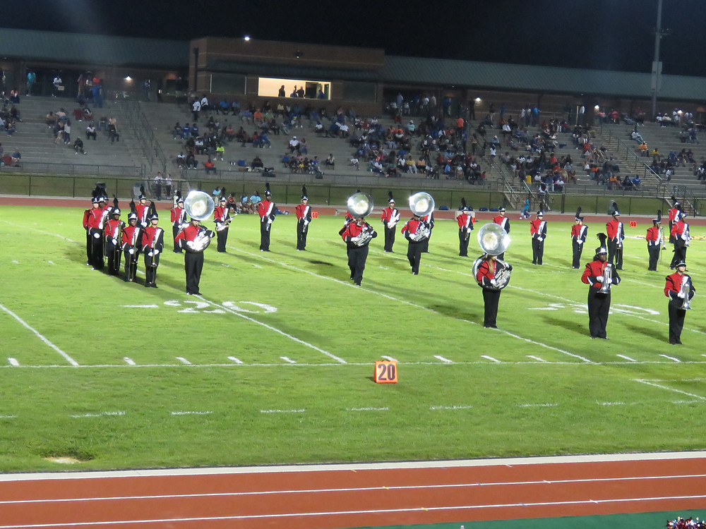 Marching Band performing at halftime.