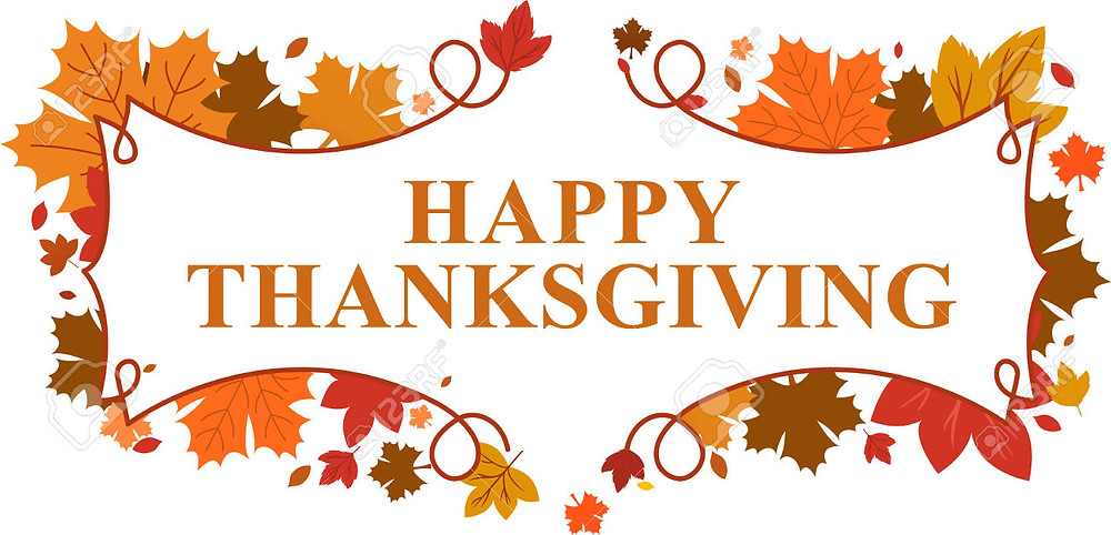 Thanksgiving graphic with fall leaves.