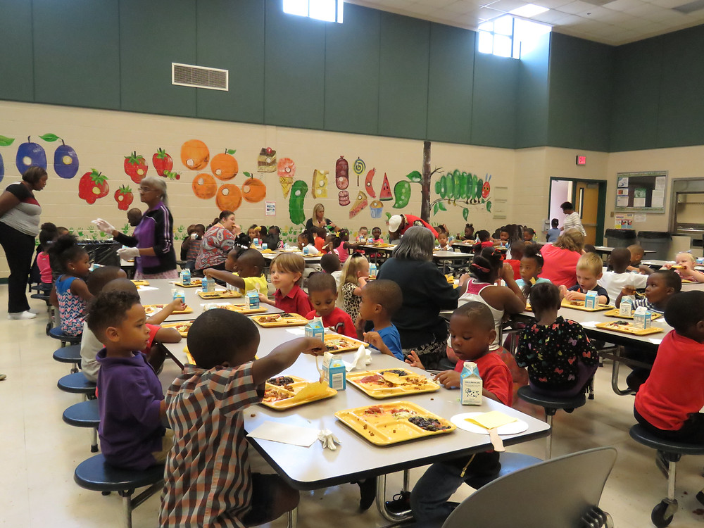 Early Learning Center students enjoying lunch.