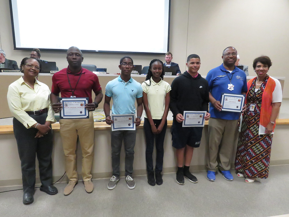 Students of our ROTC program being recognized at May's board meeting.