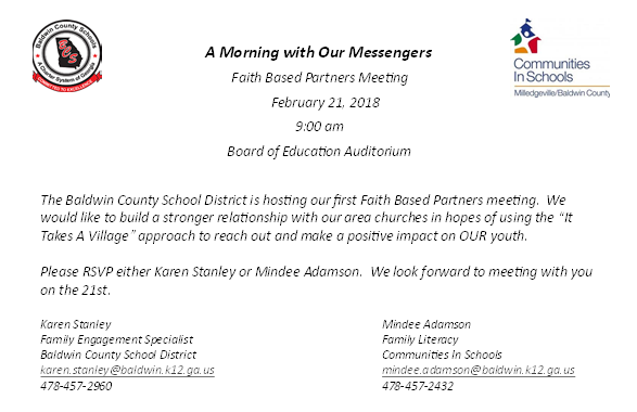 "Graphic image of the flier for our ""Morning with our Messengers"" meeting taking place on February 21 at 9a.m. at the Board of Education Conference room"