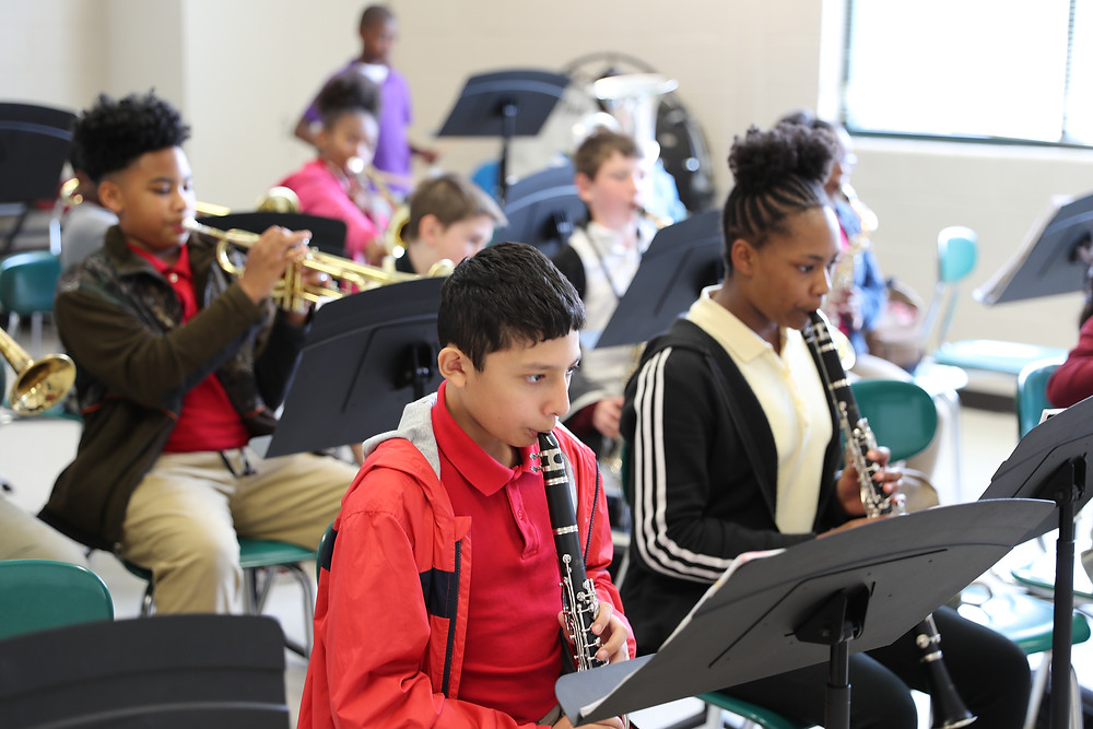 Students in the elementary band class at Lakeview Academy.