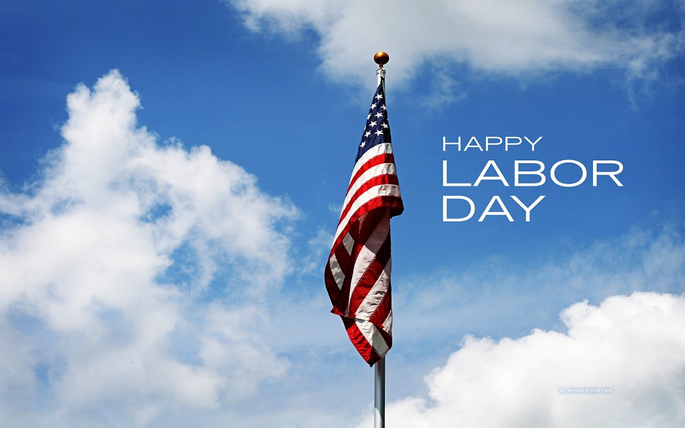 Labor Day graphic with american flag in the background.
