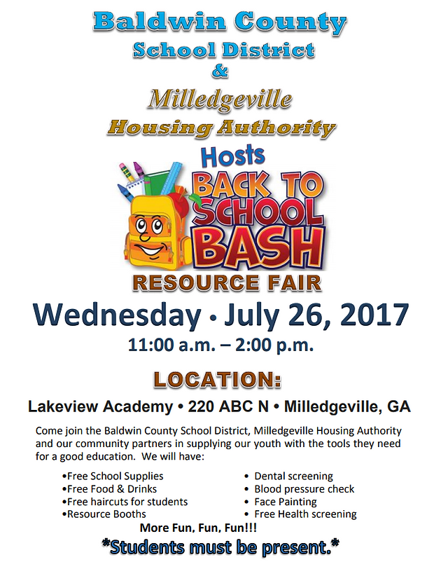 Join Us For Our 2017 Back To School Bash Baldwin County School