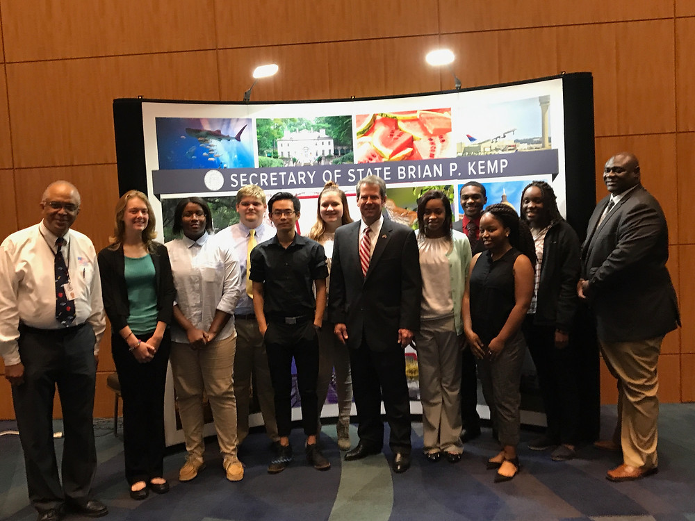 BHS Student Ambassadors posing for a photo with Georgia Secretary of State