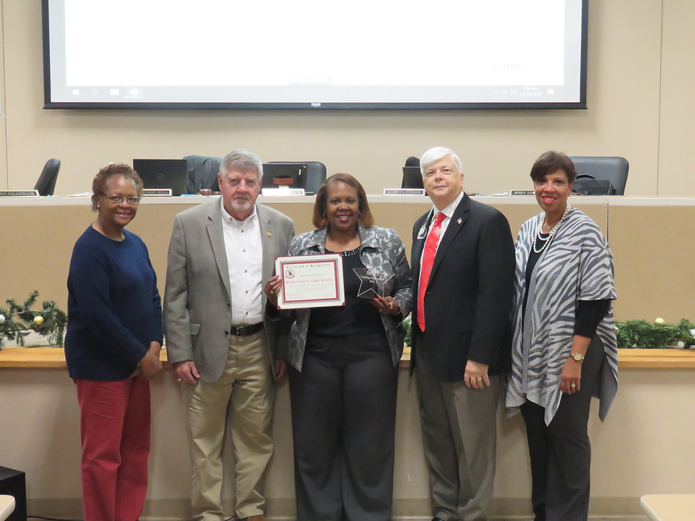 BCSD Board giving themself a recognition for receiving the GSBA Leading Edge award.