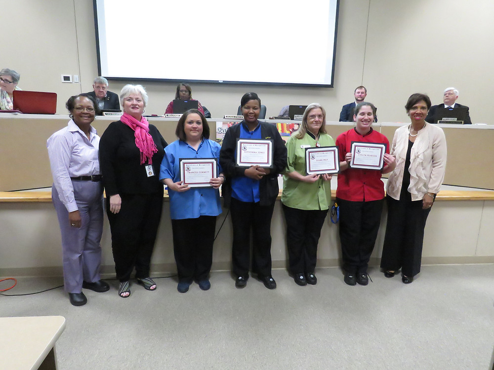School Nutrition staff being recognized at April's Board meeting.
