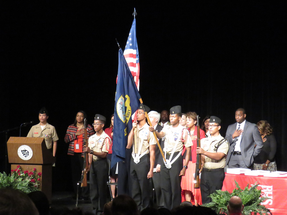 Color Guard presenting flags before the honors ceremony